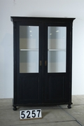 Country style Glass cabinet / vitrine black in pine wood, european 20 century