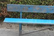 Industrial  vintage style  long garden bench, long bench in metal/wood, european 1960