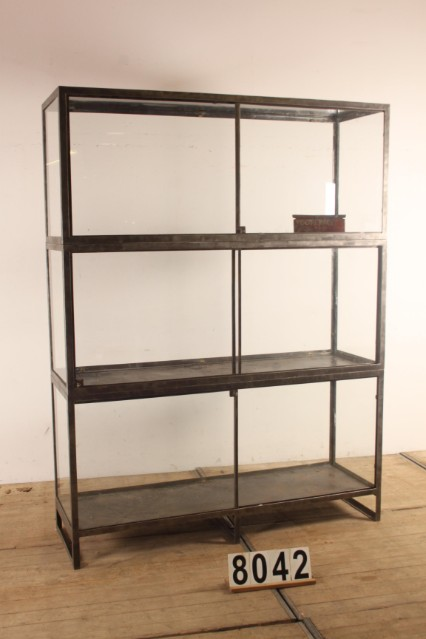 1 Industrial Vintage Vintage Glass Display Cabinet Industrial