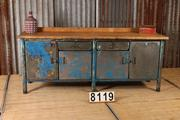Industrial  vintage style Workbench,table in metal/wood, european 1960