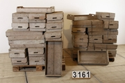 Vintage industrial style  potato crates in wood, european 20 century