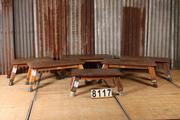 Industrial  vintage style Vintage gym leather table in leather / wood, european 1960