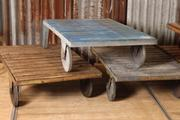 Industrial  vintage style Vintage table trolley in wood, european 1960