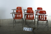 Vintage industrial style School chairs in metal/wood, european 20 century