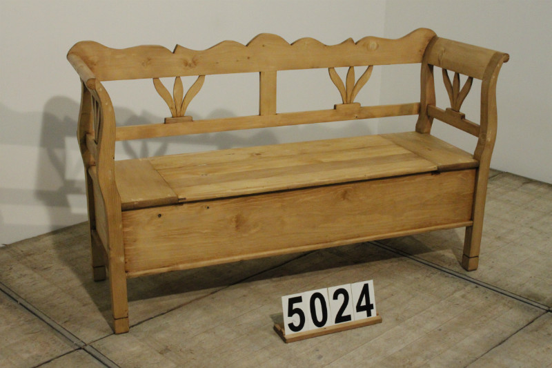 Country Pine Box Settle Bench Waxed   Restored   02 Antique Pine Furniture    Antiekgroothandel