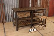 style Industrial retro vintage workbench/sidetable in wood/metal