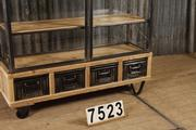style Industrial Vintage Shopcabinet/Glass Display Case in Wood/glass/metal