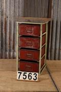 style Industrial vintage sidetable/chest of drawers in metal / wood