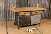 Industrial  vintage style Workbench,table in metal/wood, European 20th century